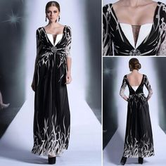 Long Black Evening Formal Party Prom Dress Chiffon Print Satin Beading 30878