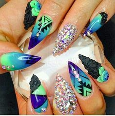 Colorful mix match stiletto nails