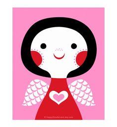Love Angel - flora chang | Happy Doodle Land #pink  #red #Valentine #print