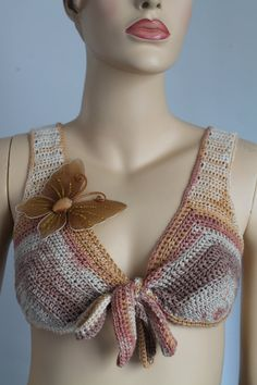 Crochet Belly Dance Bra Hippie Gypsy Festival Boho by levintovich