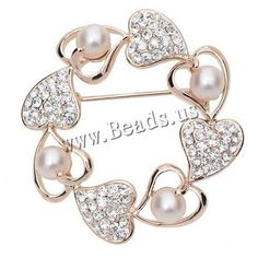 Glass Pearl Brooch, Zinc Alloy, with Glass Pearl, Heart, rose gold color plated, with rhinestone, nickel, lead & cadmium free, 45mm, 2PCs/Bag,china wholesale jewelry beads