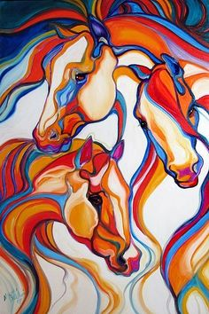 Horses of the Southwest abstract - oil by ©Marcia Baldwin (via EBSQ Art)
