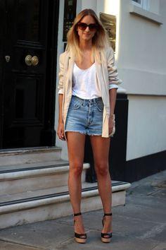 White t-shirt + shorts