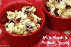 Looking for an easy salty-sweet snack mix? Try this White Chocolate Cranberry Popcorn recipe, you can even play it up for Valentine's Day.
