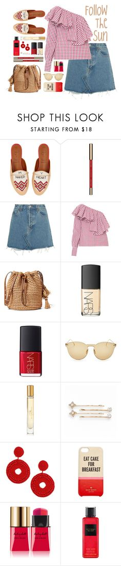 """"""".follow the Sun."""" by vvasiliana ❤ liked on Polyvore featuring Malone Souliers, Clarins, RE/DONE, FLOW the Label, NARS Cosmetics, Illesteva, Burberry, LC Lauren Conrad, Kenneth Jay Lane and Kate Spade"""