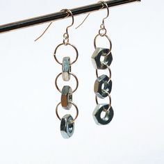 Found Object Jewelry- Salvaged Silver Hardware Earrings. $18.00, via Etsy.