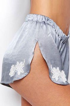 """heavenhillgirl: """"For Love & Lemons satin shorts """""""