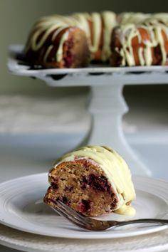 Lemon Blackberry Yogurt Bundt Cake... Very dense cake so don't use all whole wheat flour like me! Delicious fruity flavor :)