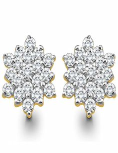 Cluster Diamond Earrings Stylish, Contemporary twist to the classic floral pattern formed with a cluster of diamonds. This is a great earring to wear with summery fabrics with floral prints! - See more at: http://diamonds4you.com/item/21303054.aspx#sthash.HtcuLE57.dpuf