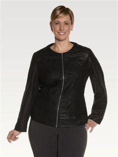Embossed Leatherette & Contrast Side Jacket