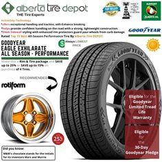 Goodyear EAGLE EXHILARATE All Season Performance Tire 225/45ZR18 XL 95Y Rotiform Wheels Goodyear Eagle, Performance Tyres, Wheels, Seasons, Seasons Of The Year