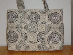 Cream Tan Black Circle Print Quilted Purse by RoxannasBags on Etsy, $40.00