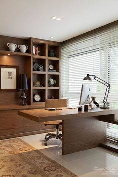 Inspiration Home Office Design Ideas. Hence, the demand for house offices.Whether you are planning on adding a home office or renovating an old room into one, right here are some brilliant home office design ideas to aid you get going. Office Table Design, Home Office Table, Modern Office Design, Office Furniture Design, Home Office Storage, Home Office Desks, Office Interior Design, Office Interiors, Modern House Design