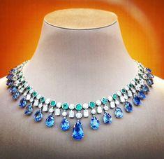 Bulgari emerald, diamond , and sapphire necklace Bvlgari Necklace, Sapphire Necklace, Beaded Necklace, Bulgari Jewelry, Diamond Necklaces, Stone Necklace, Diamond Jewellery, Bar Necklace, Modern Jewelry