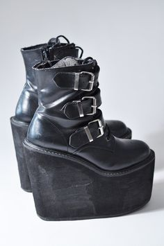 Black Buckled and Laced Platform Ankle Boots