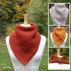 Crochet cowl patterns are versatile and fashionable. This Big Leaf Maple Bandana Cowl Free Crochet Pattern does a great job at keeping your neck warm and toasty. Crochet Scarves, Crochet Shawl, Crochet Baby, Free Crochet, Irish Crochet, Crochet 101, Crochet Clothes, Easy Crochet, Tunisian Crochet Patterns
