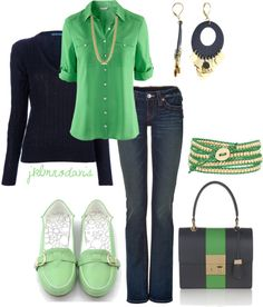 """Navy, Green & Gold"" by jklmnodavis on Polyvore"