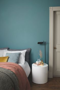 Set sail for a relaxing bedroom scheme with a soothing shade of blue. Maritime Teal from our Heritage range is sure to lull you off to the land of nod in style. Dark Teal Bedroom, Accent Wall Bedroom, Bedroom Green, Bedroom Decor, Bedroom Ideas, Teal Bedroom Walls, Teal Bedrooms, Bedroom Ceiling, Accent Walls
