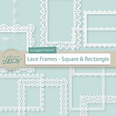 This is a set of 32 professionally made, high quality digital lace frames in White. These highly detailed frames can be used digitally or in print.