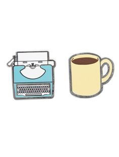 Look what I found from Out of Print! Typewriter and Coffee enamel pin set – Out of Print #OutofPrintClothing