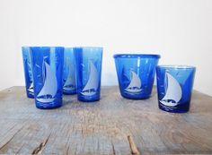 vintage sailboat glasses / hazel atlas cobalt glass.
