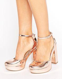 ASOS PARODY Platform Block High Heels - Gold