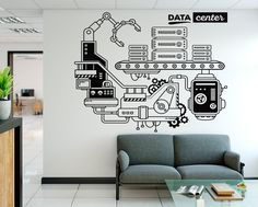 👨💼👩🏿💼Small Office Workspaces Design Tips Workspace Design, Office Workspace, Office Interior Design, Office Interiors, Office Decor, Office Wall Graphics, Office Wall Decals, Office Walls, Wall Drawing