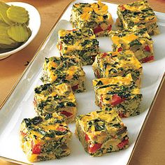 Another good Christmas morning breakfast idea.  Vegetable Frittata Squares | MyRecipes.com