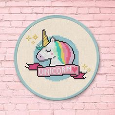 +This item is available for instant digital download* A cute Sleepy Unicorn counted cross-stitch pattern to personalize your belongings or adorn on your walls. The possibilities are endless- stitch it onto your marketbag, your babys onesie, tees, napkins, ornament, etc. as a focal point!