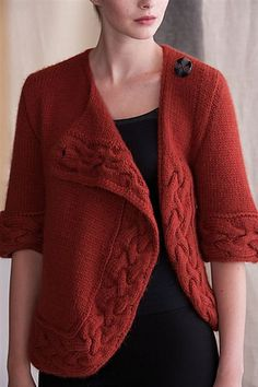 Ravelry: Turned Cable Cardigan pattern by Jean Clement Knitting Daily, Knitting Yarn, Free Knitting, Cardigan Pattern, Crochet Cardigan, Knit Crochet, Knitting Blocking, Cable Cardigan, Knitting Magazine