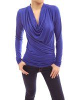 Patty Women Comfy Cowl Neck Long Princess Sleeve Knit Top