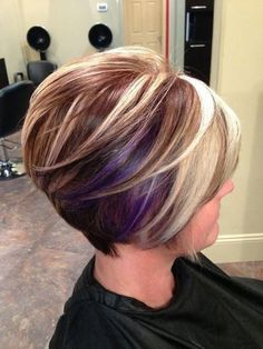 Love everything about this style!!! Now to try to grow mine longer.... Short Inverted Bob with chunk highlights.