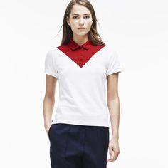 Polo straight fit Lacoste en piqué noppé color block Japon Edition Défilé