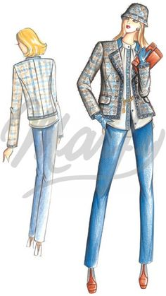 This Chanel-style, somewhat form-fitting jacket has a stand-up collar and wool or stud-trimmed lapel. To combine with the blouse 2923.