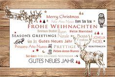 #Weihnachtskarte mit #Weihnachtsschlitten, Einlage in naturweiß, inkl. Kuvert.