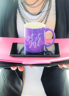 "Purple ""Get it, Girl"" Mug by Aleah Shop at: AleahShop.etsy.com  This mug was inspired by the ever-needed reminder to go after your goals and dreams and crush them! Whether it's starting a small business, wrangling three kids each day, or preparing for a marathon, every girl has challenges, daily demands, and aspirations. This mug touts the anthem to get it done each day, and do so with confidence in yourself."