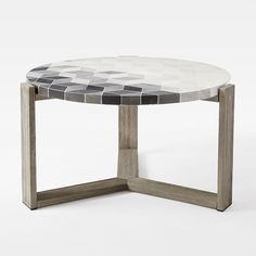 Mosaic Coffee Table - Isometric Concrete Round Top + Weathered Gray Base