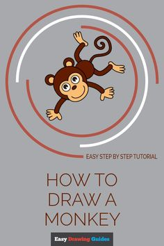 Learn to draw a cool cartoon monkey. This step-by-step tutorial makes it easy. Kids and beginners alike can now draw a great looking monkey. Monkey Drawing Easy, Cartoon Monkey Drawing, Cartoon Drawings, Animal Drawings, Drawing Tutorials For Kids, Drawing For Kids, Art For Kids, Drawing Stuff, Easy Drawings Sketches