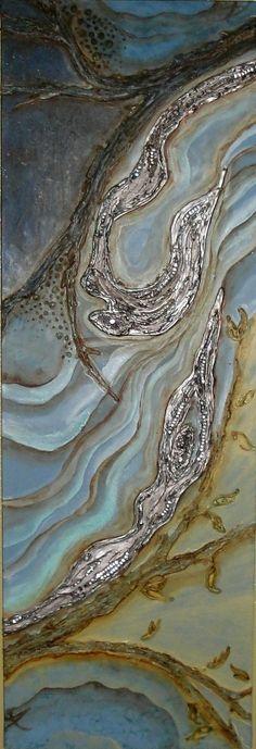 "Rarebird Art   Morning to Evening   acrylic, latex, plaster, resin, glass, metal on canvas 36""x12""x1.5"" /sm"