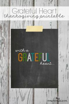 Here is a new Thanksgiving Printable to set the stage for your grateful heart! via createcraftlove.com