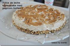 Dulce de leche cheesecake med popcorn botten (helt glutenfri!) | Bambi Bambi, Popcorn, A Food, Cheesecake, Peanut Butter, Special Occasion, Snacks, Desserts, Drinks