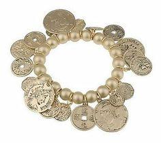 Coin Charm Stretch Bracelet by Garold Miller