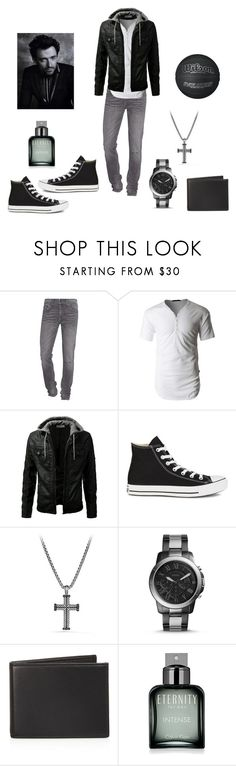 """Black and white"" by jessiestarman ❤ liked on Polyvore featuring True Religion, LE3NO, Converse, David Yurman, FOSSIL, The Men's Store, Calvin Klein, men's fashion and menswear"