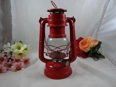 1970s Vintage Fire Engine Red Hope  Lantern Lamp by SecondWindShop