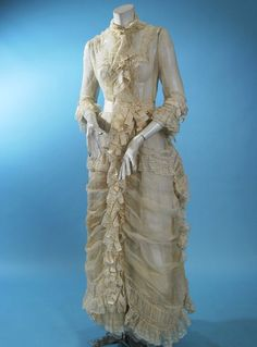 1870's organdy summer gown.