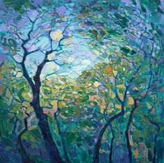 Contemporary expressionist landscape painting of Paso Robles wine country, by Erin Hanson.