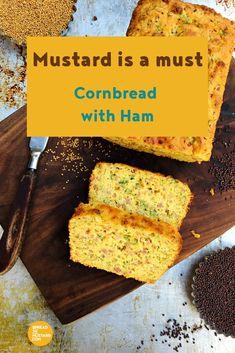Cornbread with ham is great breakfast, brunch or lunch fare! Ham Recipes, Potluck Recipes, Appetizer Recipes, Great Recipes, Appetizers, Yellow Mustard Seeds, Honey Ham, Mustard Recipe, Pork Ham