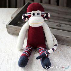 Sewing Patterns Free, Free Sewing, Free Pattern, Sock Monkey Pattern, Monkey Doll, Sock Animals, Clay Animals, Softie Pattern, Sock Toys