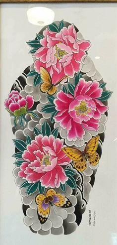 tattoos in japanese prints Japanese Peony Tattoo, Japanese Tattoo Women, Japanese Tattoo Symbols, Japanese Tattoo Designs, Japanese Sleeve Tattoos, Japanese Flowers, Peony Flower Tattoos, Peonies Tattoo, Arm Tattoo
