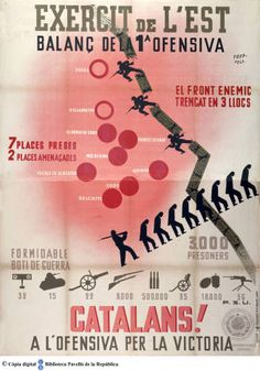 Exèrcit de l'est, balanç de la 1ª ofensiva : catalans! a l'ofensiva per la victòria :: Cartells del Pavelló de la República (Universitat de Barcelona)